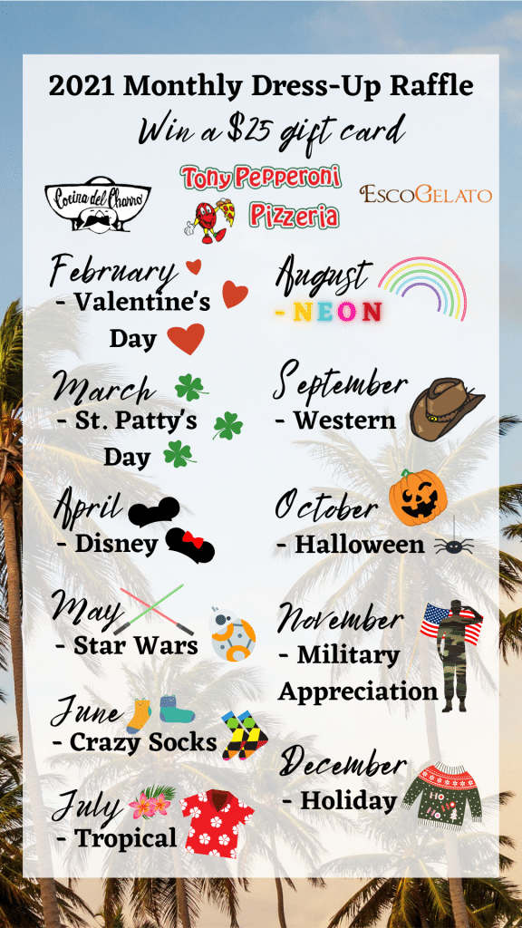 2021 Monthly Dress-Up Raffle Themes